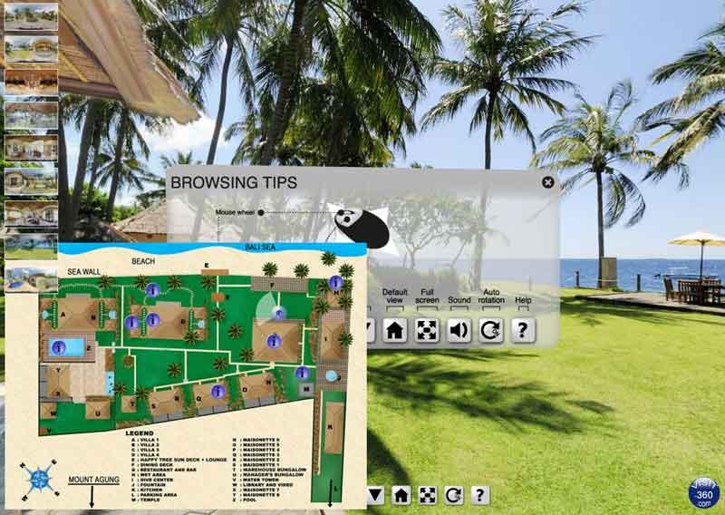 Interaktives 360°-Panorama (inkl. Innenansichten der Bungalows)
