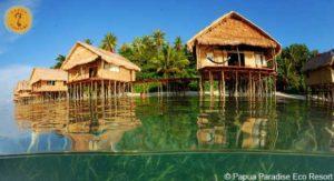 Wasser-Bungalows im Papua-Stil