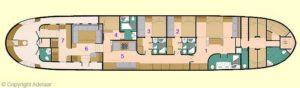 Kabinenplan: 1 Master Suite, 2 State Room 2, 3 State Room 3, 4 State Room 4, 5 Bibliothek, 6 Hauptsalon, 7 Galley/Kombüse